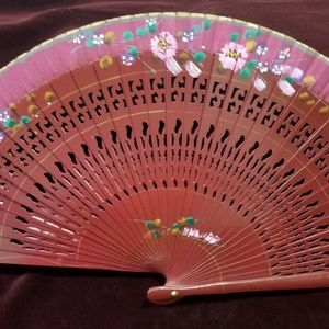 Wood Handpainted Hand Fan - Deep Burgundy with Pin